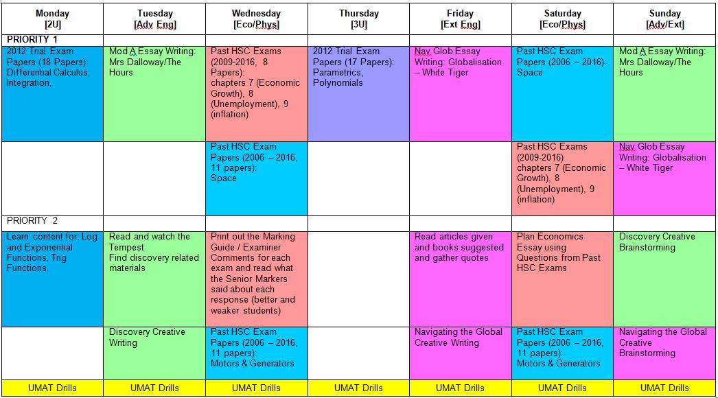 Y12 Student Weekly Rhythm