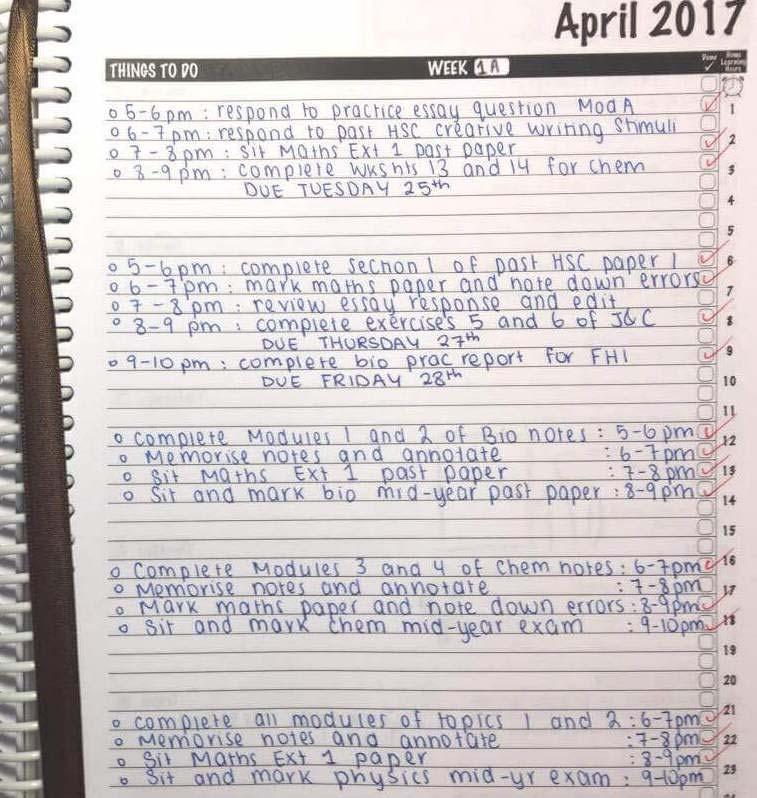 school diary task list