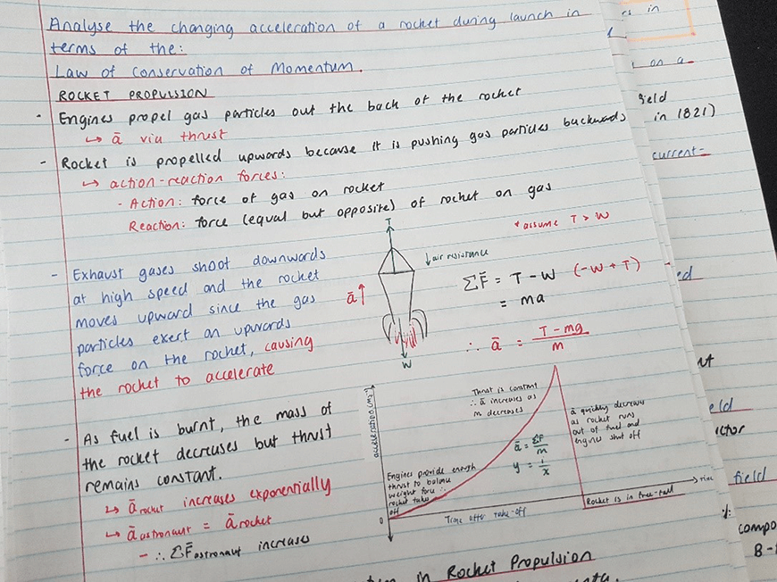 blog-success-secret-how-i-scored-99-7-atar-non-selective-co-ed-public-high-school-physic-handwritten-black-blue-red-pen-notes-rocket-drawings-graphs-lined-paper