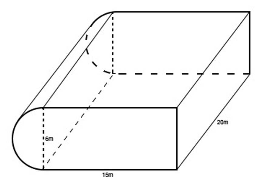guide-maths-y-9-Volume-question-2-rectangulr-prism-connected-semi-circle-prism-black-outline-on-white