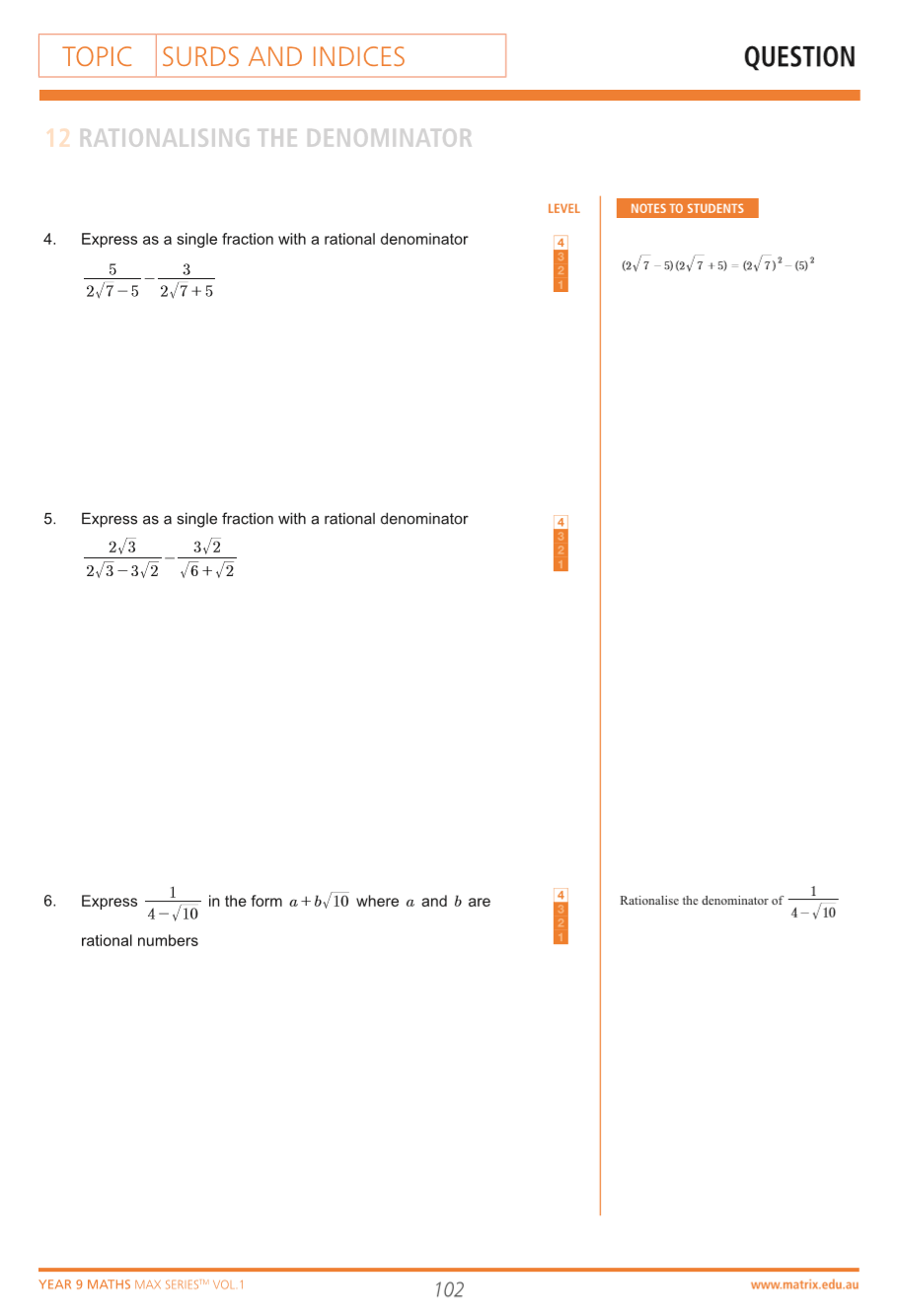 Questions from Year 9 Maths Max Series Vol. 1 Surds and Indices