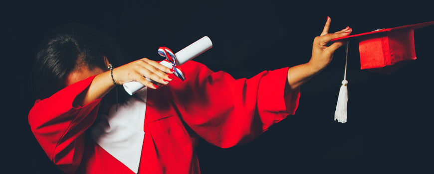 image of a graduate dabbing how-to-write-a-year-6-creative-in-8-steps