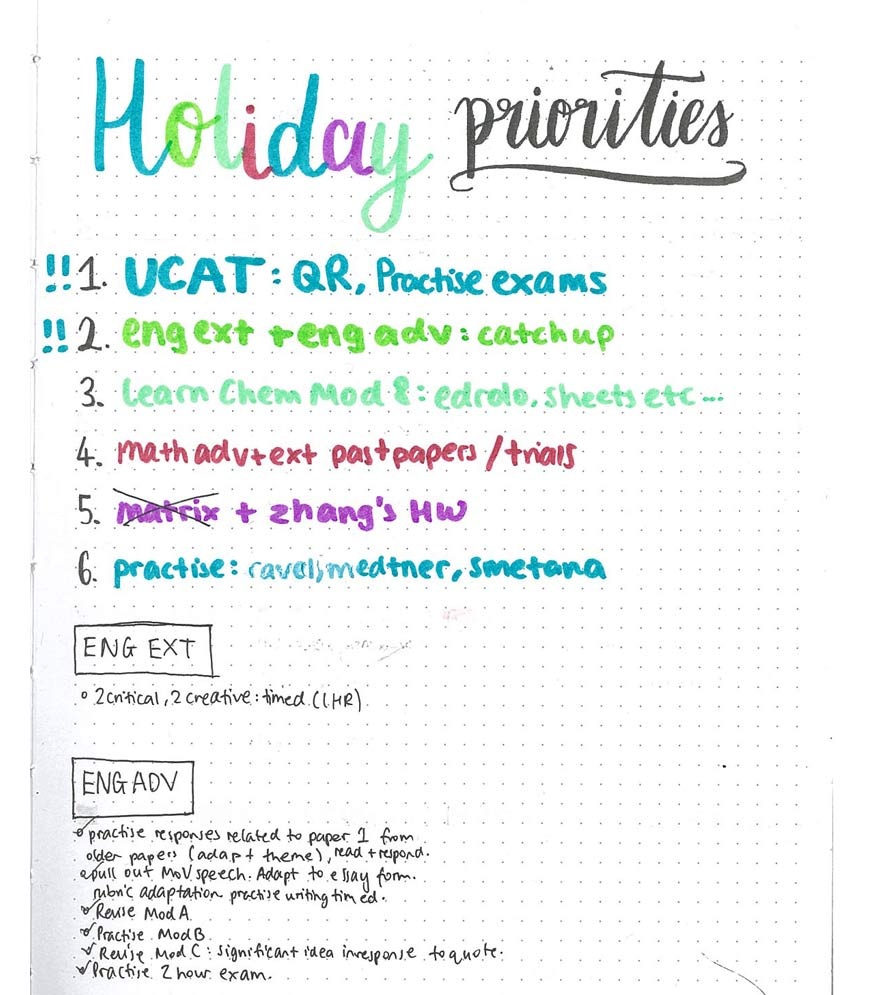 a colour coded page of Kelly's BoJo with Holiday planning on it blog-hacks-kelly-hou-Master-Planning-and-Time-Management-in-9-Steps-to-Boost-Your-ATAR-bullet-journal-planner