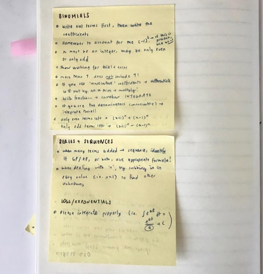 blog-sherryn-How-To-Use-Self-Reflection-and-Planning-To-Study-Effectively-sticky-notes-with-my-mistakes