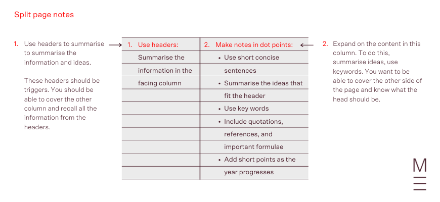 an image showing how to layout split page notes when writing perfect study notes